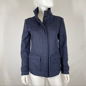 Boden 8 Jacket Double Faced Zip Up Snap Wool Blend